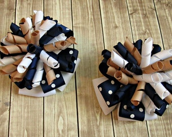 Girls Made To Match Back To School Bows- Navy White Khaki- School Uniform Bows- First Day of School