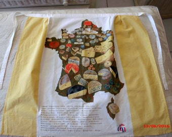 Vintage French Apron French Cheese Region Wine And Cheese