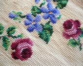Reserved - Rose Needlework, Handmade, Roses upholstery, Cutters quilting, Sampler, Antique, country chic, by mailordervintage on etsy