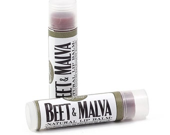 Two Handmade Beet and Malva Lip Balm Stick with Natural Beet Color Round Tube