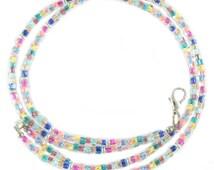 Triangular glass beads in bright, fun colors beaded break away lanyard, ID badge holder, eyeglasses holder, necklace