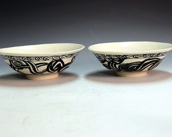 Porcelain ceramic one of a kind hand made hand painted bowls with northern peoples images