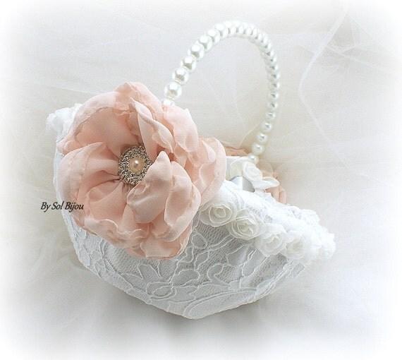 Flower Girl Basket Blush : Flower girl basket white blush pink round lace