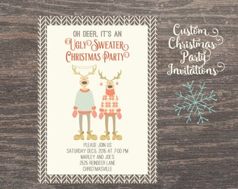 Ugly Sweater, Christmas Party Invitation, Custom Ugly Sweater Invites