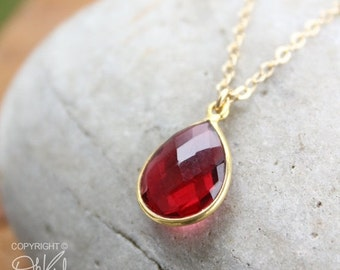 MOTHERS DAY SALE Gold Red Ruby Quartz Teardrop Necklace - 14K Gold Fill - Cranberry