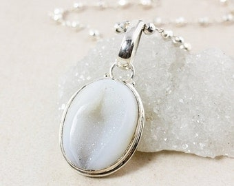 ON SALE Silver White Druzy Necklace – Silver Pyrite Chain - Oval Druzy Necklace