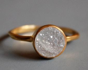25% OFF Gemstone Ring - Druzy Ring - Round Shape - Stacking Ring
