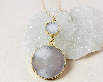 50% OFF White and Natural Brown Druzy Necklace – Two Tiered Druzy Pendant – 14K Gold Filled Chain