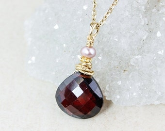 LABOR DAY SALE Red Garnet Necklace - Pink Freshwater Pearl