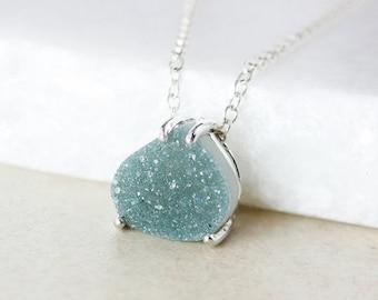 50% OFF Sage Green Druzy Pendant Necklace - Pear-Shape - Choose Your Druzy
