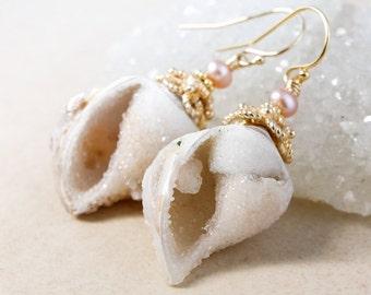 Gold Fossilized Druzy Sea Shell Earrings - Pink Freshwater Pearls - 14KT GF