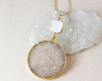 50 OFF SALE Brown and White Druzy Pendant Necklace – Choose Your Druzy – 14K Gold Filled Chain