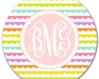 Personalized Childrens Melamine Plate or Bowl--Initial Pastel Scalloped Stripe
