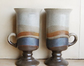 Vintage Pair Otagiri Ceramic Coffee Mug Organic 1970's Boho Cappuccino Cup Brown Stripe Wave Design.