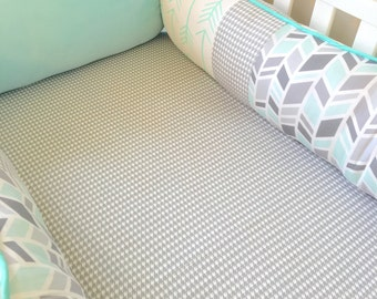 Ritzy Baby Custom Made to Order Mint Arrows and Grey Houndstooth Crib Bumper