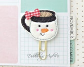 Planner Clips, Snowman Cup Paper Clip, Snowman Planner Clip, Felt Paper Clip, Accessory For Planners, Organizer Clip, Bookmark Clip