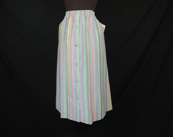 rainbow striped skirt 70s bright big pocket skirt career casual large XL new old stock