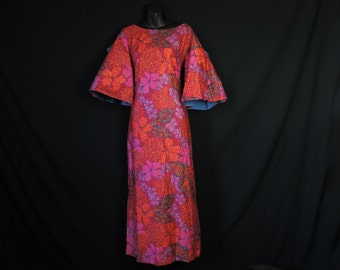 vintage Hawaiian maxi dress 1960's mod pink floral bell sleeve hostess gown small