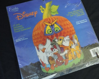 Disney honeycomb pumpkin paper die cut Halloween Mickey Mouse centerpiece decoration new old stock
