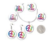 Choice Rainbow Peace Sign Earrings or Necklace Rainbow Peace Word