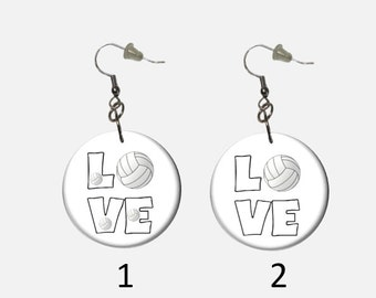 Love Volleyball Dangle Earrings Choose Single Volleyball or Multiple Volleyballs Sports Earrings Unique to HotDogCrafts