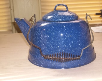 Blue and White Speckled Teapot / Coffee Pot