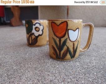 SALE SALE SALE Vintage Mugs Stoneware Ceramic Tulips Flowers Glaze Warm Hues Earth Tones
