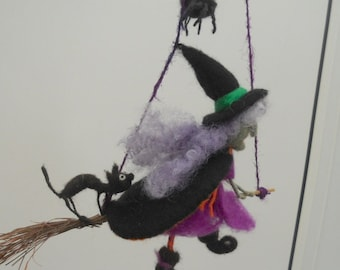 witch on a broomstick, flying witch, black cat and spider, needle felted witch, purple and orange, black and purple,  witch mobile