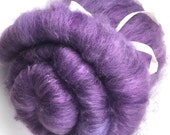 Spinning Fiber - alpaca, silk, firestar, mohair smooth batt - Purple Daphne 4.8 oz