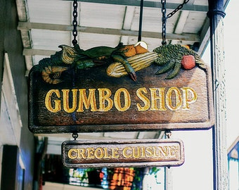 Gumbo Shop Photograph, French Quarter Print, Cajun, Creole, New Orleans, Mardi Gras, Wall Art, Home Decor, 8x10, 11x14, 16x20, 20x24, 24x30