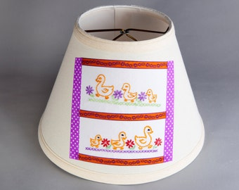 Nursery Lamp Shade - Vintage Hand Embroidered Ducks Quilt Piece on New Linen Fabric Lampshade - Upcycled Fabric Lamp Shade