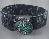 Beaded Bracelet with Vintage Turquoise Mosaic  Button Clasp by Marcie Stone