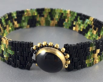 Beaded Bracelet with Vintage Black Glass Button Clasp by Marcie Stone