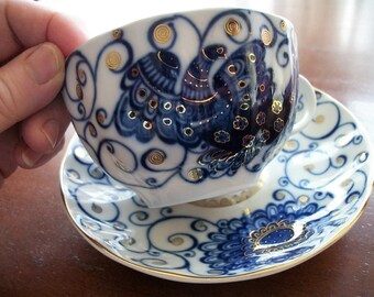 Lomonosov Porcelain Tsar Bird Cup and Saucer - Discontinued Pattern - Collectible Russian Porcelain