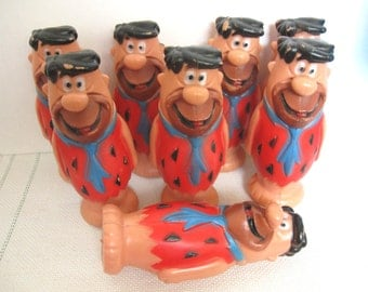 Vintage Fred Flintstone Vinyl Figure - Hanna Barbera - Made in Hong Kong - Seven (7) Available