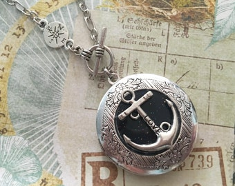 Anchor Necklace locket,Silver Compass Jewelry, Photo Locket, Locket Compass Necklace charm, Gift for her Jewelry