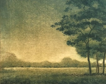 Hand Pulled Fine Art Print Landscape Monotype - Ready To Hang Original Wall Art