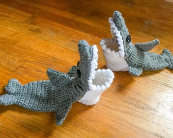 Shark Sock Slippers - Shark Slipper Socks - Shark Slippers - Crochet Shark Shoes - Gift For Her - Christmas Gift - Crochet Baby Shoes