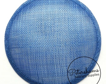 14cm Round Millinery Sinamay Hat Base for Fascinators, Cocktail Hats and Wedding Hats - Royal Blue