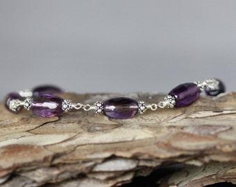 Purple Amethyst Bracelet - Bali Silver Bracelet - February Birthstone - Purple Gemstone Bracelet - Wire Wrap Bracelet - Amethyst and Silver