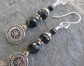 Om ~ Black Onyx earrings with Om dangles ~ Bohemian style jewelry, Spiritual jewelry