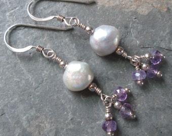 Amethyst & Freshwater Pearl Sterling Silver Earrings ~ Chakra/Zen/Metaphysical Jewelry