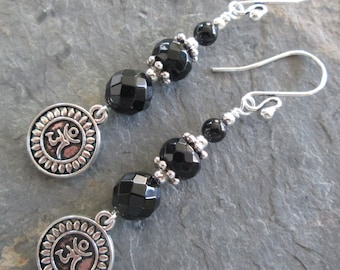 Black Onyx Earrings with Om Charms ~ Bohemian Style -  Metaphysical Jewelry