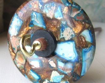 Blue Jasper and Bronzite Stone Drop Spindle .92 ounces 28 grams Oak Shaft