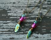 Turquoise and Fuchsia Spear Earrings - Long Dangles - Boho Drop Earrings - Bold Boho - Bead Soup Jewelry