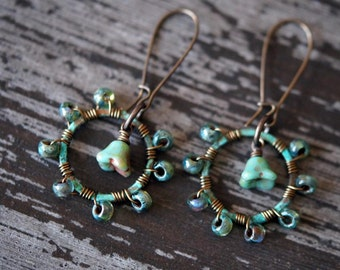 Turquoise Beaded Hoops - Hoop Earrings - Hoops - Boho Earrings - Flower Earrings - Dangle Earrings - Bead Soup Jewelry