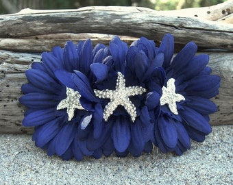 Nautical Hair Accessories,Nautical Wedding,Beach Wedding,Starfish Hair Comb,Beach Bride,Something Navy Blue,Navy Blue Wedding Colors
