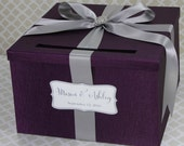 Wedding Card Box Plum Purple and Silver Classic Card Holder Customizable in your Color