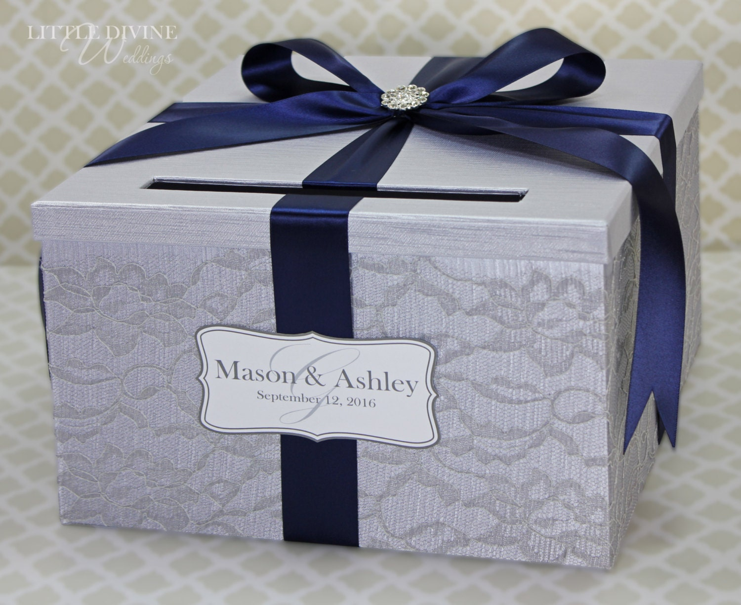 Wedding Card Box Silver And Navy Blue Lace Vintage By