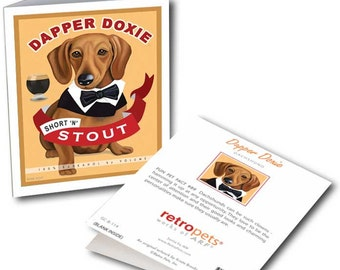 """Dachshund Cards """"Dapper Doxie"""" 6 Small Greeting Cards by Krista Brooks"""